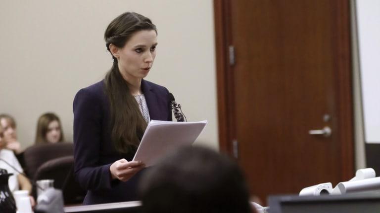 Former gymnast Rachael Denhollander gives her victim impact statement during Larry Nassar's sentencing hearing in Lansing, Michigan, in January.