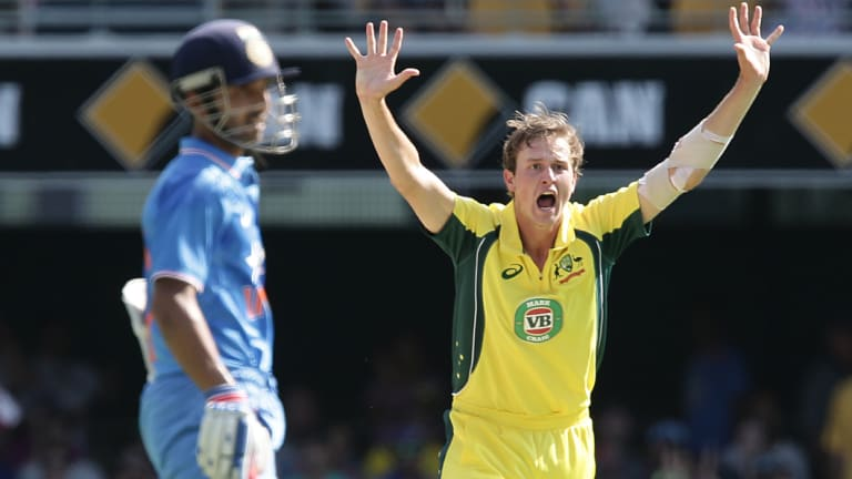 Joel Paris appeals for a wicket against India in 2016.