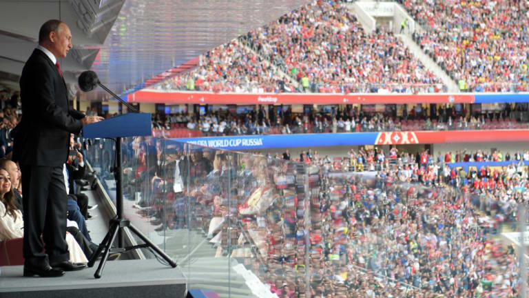 Vladimir Putin speaks at Luzhniki Stadium in Moscow before the opening match of the World Cup.