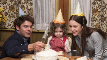 This image released by Netflix shows Zac Efron, left, and Lily Collins, right, in a scene from Extremely Wicked, Shockingly Evil, and Vile.