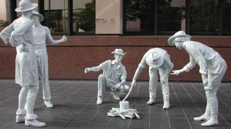 One of the iconic Artbuster sculptures built for World Expo 88 and which have missing from Brisbane's streets. This one was outside the DPI building in Ann Street.