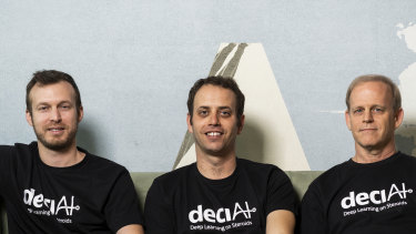 Jonathan Elial (left), Yonatan Geifman and professor Ran El-Yaniv (right) are the co-founders of Deci.