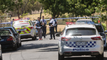 Police at the scene of a shooting in Salisbury Street, Yarraville.