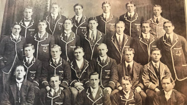 The 1913 Australian rugby team lost six players in battle. Third row: Harold George (far left), Fred Thompson (second left), Clarence 'Dos' Wallach (fourth left), Bryan Hughes (far right) In second row: William 'Twit' Tasker (far right). Absent: Herbert Jones.