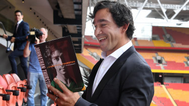 Target: Johnathan Thurston poses at the launch of his autobiography at Suncorp Stadium.