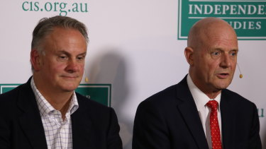 Mark Latham, centre, and SenatorDavid Leyonhjelm attending conservatives conference at The Centre for Independent Studies.