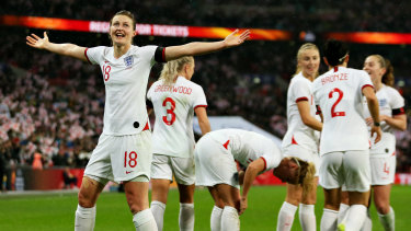 Ellen White celebrates scoring England's only goal of the match.