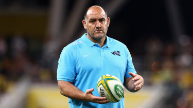 Argentina coach Mario Ledesma watches his team warm up ahead of their match against Australia on Saturday night.