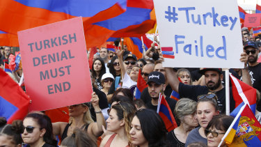 Crowds of Armenian Americans march on Wednesday in Los Angeles during the annual commemoration of the deaths of 1.5 million Armenians under the Ottoman Empire. Turkey contends the deaths were due to civil war and unrest.