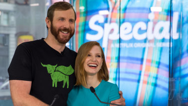Actress Jessica Chastain with Beyond Meat founder Ethan Brown.