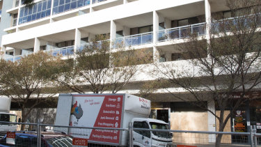 Moving vans outside Mascot Towers this week.
