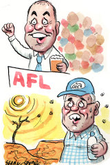 Treasurer Josh Frydenberg and Prime Minister Scott Morrison. Illustration: John Shakespeare