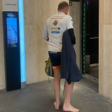 Tony Abbott entering the lift at Sydney's MLC Building where he has his new office.
