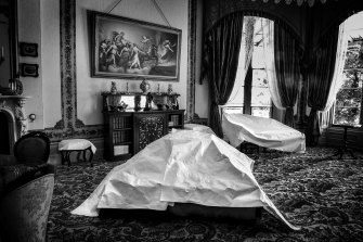 Covered furniture in the drawing room of Vaucluse House.