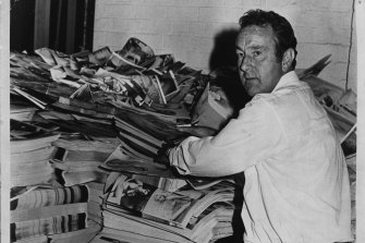 Some of the pornographic books seized by police in 1973.