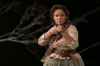 Purcell as the lead character in The Drover's Wife, the fierce Molly Johnson.