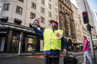 Big Issue seller Glenn on his old beat at the corner of Market St, Sydney, on Monday.