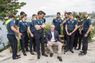 Prime Minister Scott Morrison joins the Australian cricket team at Kirribilli House before the Sydney Test against the New Zealand side.
