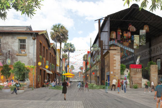 The island's cavernous industrial buildings would be turned into a creative precinct with a central laneway.