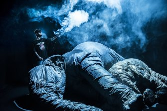 Tour guide Jimmy Hodgson, 14, holds a smoke machine over giant inflatable elephants.