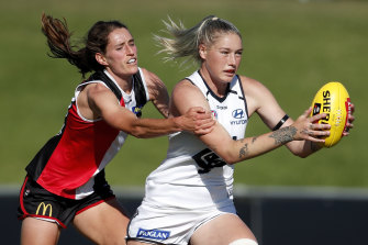 Tayla Harris, right, in action earlier this year for Carlton.