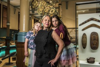 Laura McBride with daughters Bronte and Mackenzie Walker.