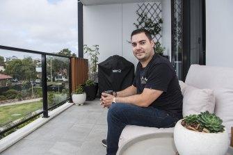 Young apartment owner Loukas Hatzigeorgiou.