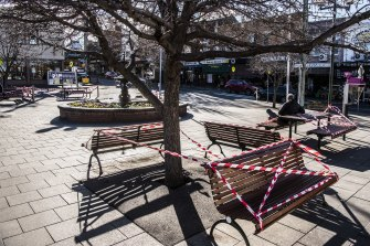 Public benches taped up in Summer Hill.