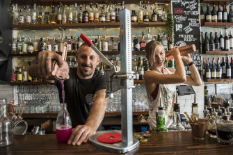 Fabrizio Culici and Tess Robens from The Rio Bar in Summer Hill bottle cocktails for home delivery.