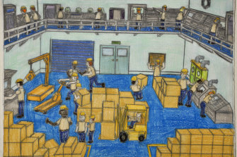 Samraing Chea,Economic Recovery,2011;greylead and colour pencil on paper,25 x 33 cm