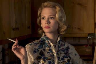 January Jones as Betty Draper - who would never have harbouredthis kind of guilt - in Mad Men.