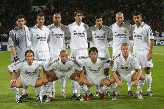 Beckham was part of  the 'Galacticos' side at Real Madrid, which here includes Ronaldo, Luis Figo, Zinedine Zidane, Roberto Carlos, Raul and the England captain himself.