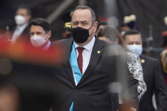Guatemalan President Alejandro Giammattei, pictured earlier this week, tested positive for COVID-19.