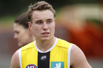 Ryan Byrnes injured his hamstring at a training session at RSEA Park on Friday.