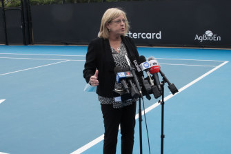 Emergency Services Minister Lisa Neville addresses the media on Tuesday.