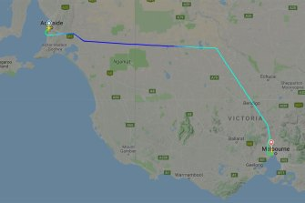 The flight took off for Canberra from Adelaide and was diverted to Melbourne.