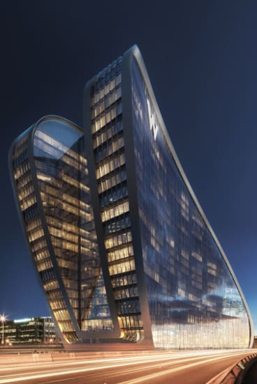 Artist's impression of the Ribbon W Hotel being constructed at Darling Harbour.