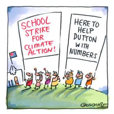 School kids march on Parliament House.