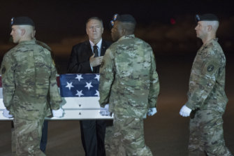 Mike Pompeo visited Dover Air Force Base for the arrival of the coffin of Army Sergeant 1st Class Elis Angel Barreto Ortiz.