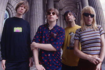Sonic Youth outside Parliament House, Melbourne, in 1993. Her former husband Thurston Moore is on the left.