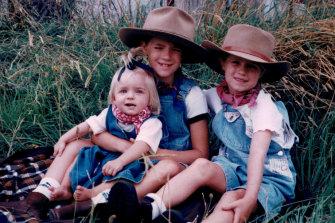 Lisa, Chloe and Carlie Higgins in Mudgee, 1997.