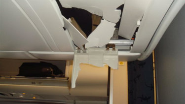 The Airbus A330's ceiling was punctured by passengers' heads when the plane pitched down.