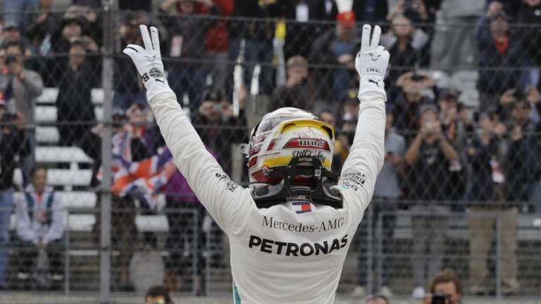 On pole: Lewis Hamilton is at the front of the grid in America.