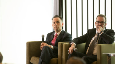 Shadow attorney general John Pesutto and Attorney General Martin Pakula at the Melbourne Press Club.