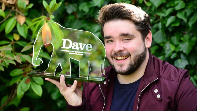 Comedian Adam Rowe wins the Dave Joke of the Fringe 2018 award.