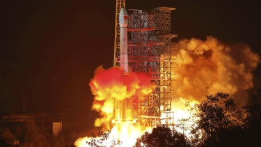 The Chang'e-4 lunar probe launches from the the Xichang Satellite Launch Centre.