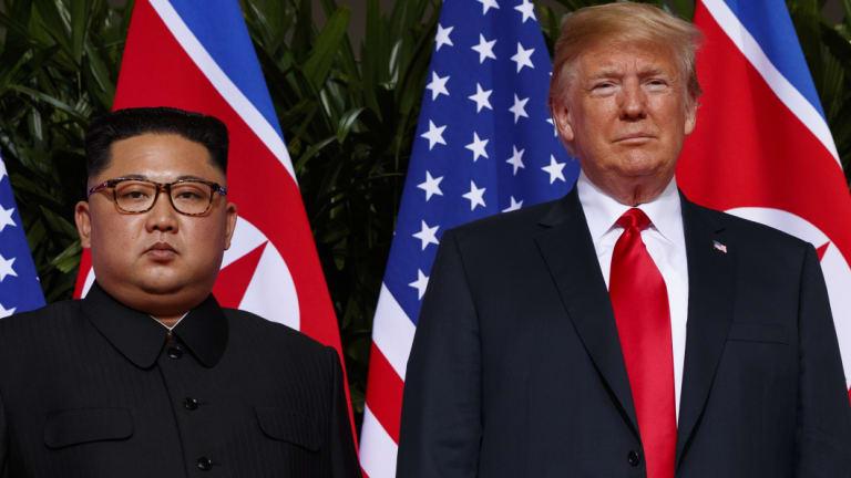 US President Donald Trump meets North Korean leader Kim Jong-un.