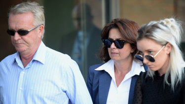 Athena Vibert, middle, arrives at Parramatta District Court for sentencing on Friday.