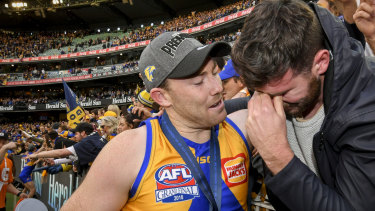 Touching moment: Jeremy McGovern with brother Mitch McGovern at the 2018 Grand Final.