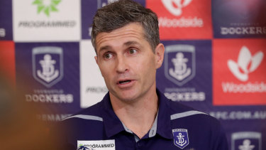 New Fremantle senior coach Justin Longmuir at his press conference on Monday.